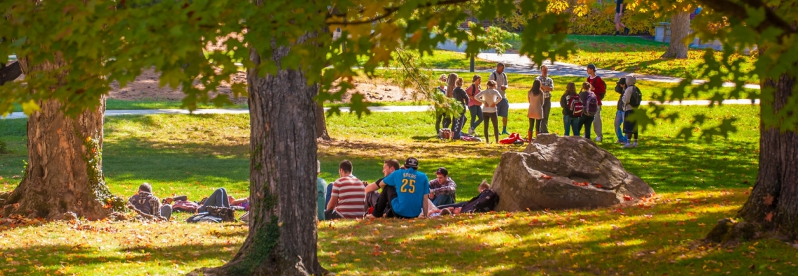 College students sitting on the quad at the University of New Hampshire